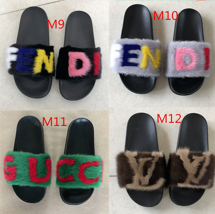 women fashion nature mink fur slippers