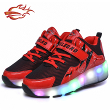 Super light adult PU upper one wheel skating led light up shoes