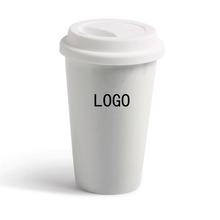Custom sublimation double wall ceramic coffee mug travel coffee cup with silicone lid