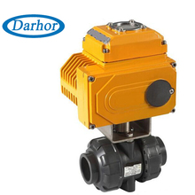 PVC body material DN15~DN100 ball valve with electric actuator