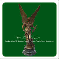 Outdoor Large Bronze Warrior Statues For Sale With Ancient Sword