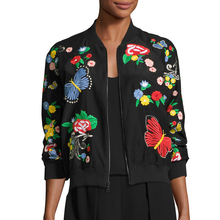 Fashion Floral Patterned Black Embroidered Silk Bomber Women Jacket