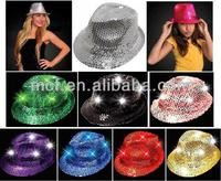 MCH-0022 Party funny crazy cheap Flashing led Sequin Fedora hat