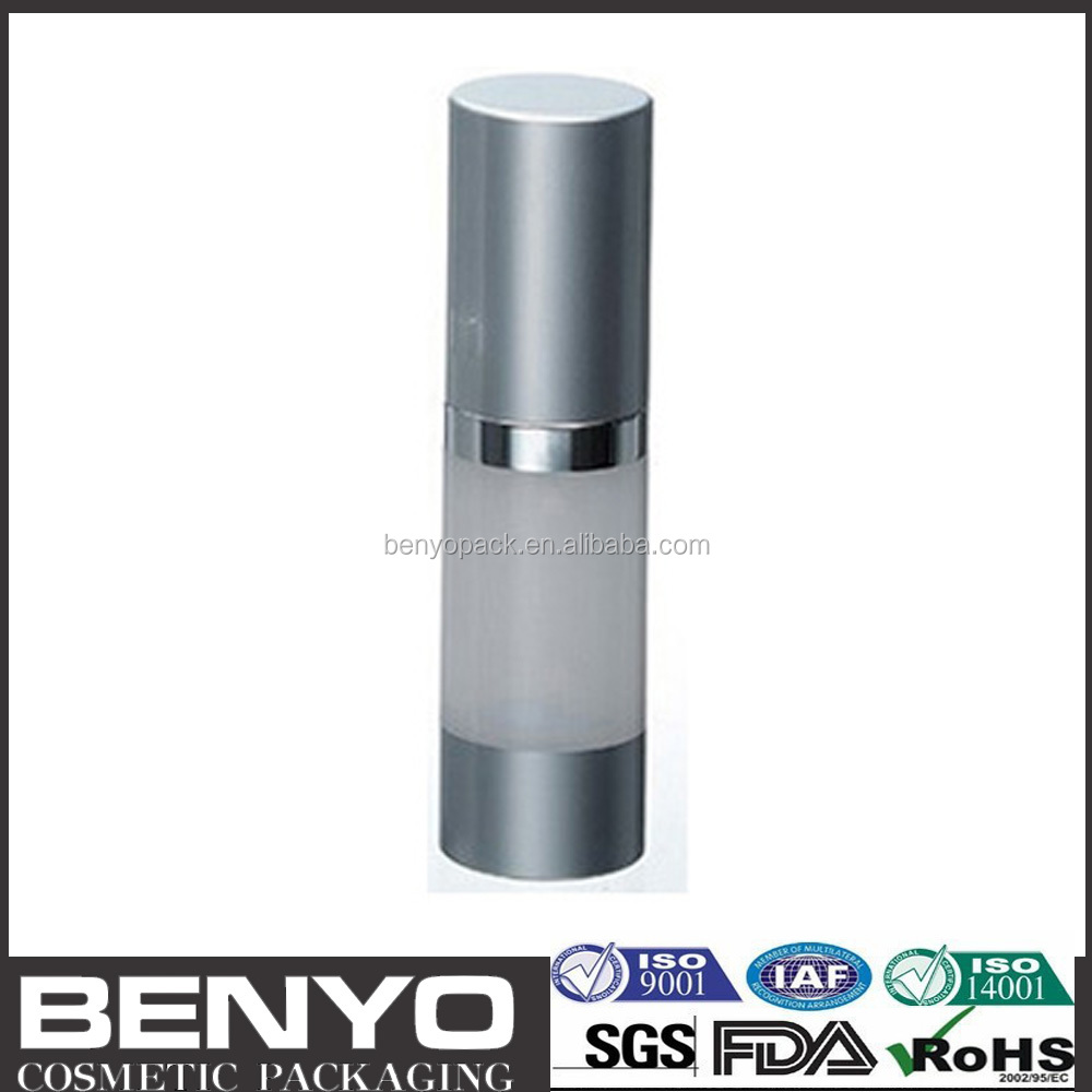 matte silver aluminium cosmetic airless serum glass bottle 15 ml