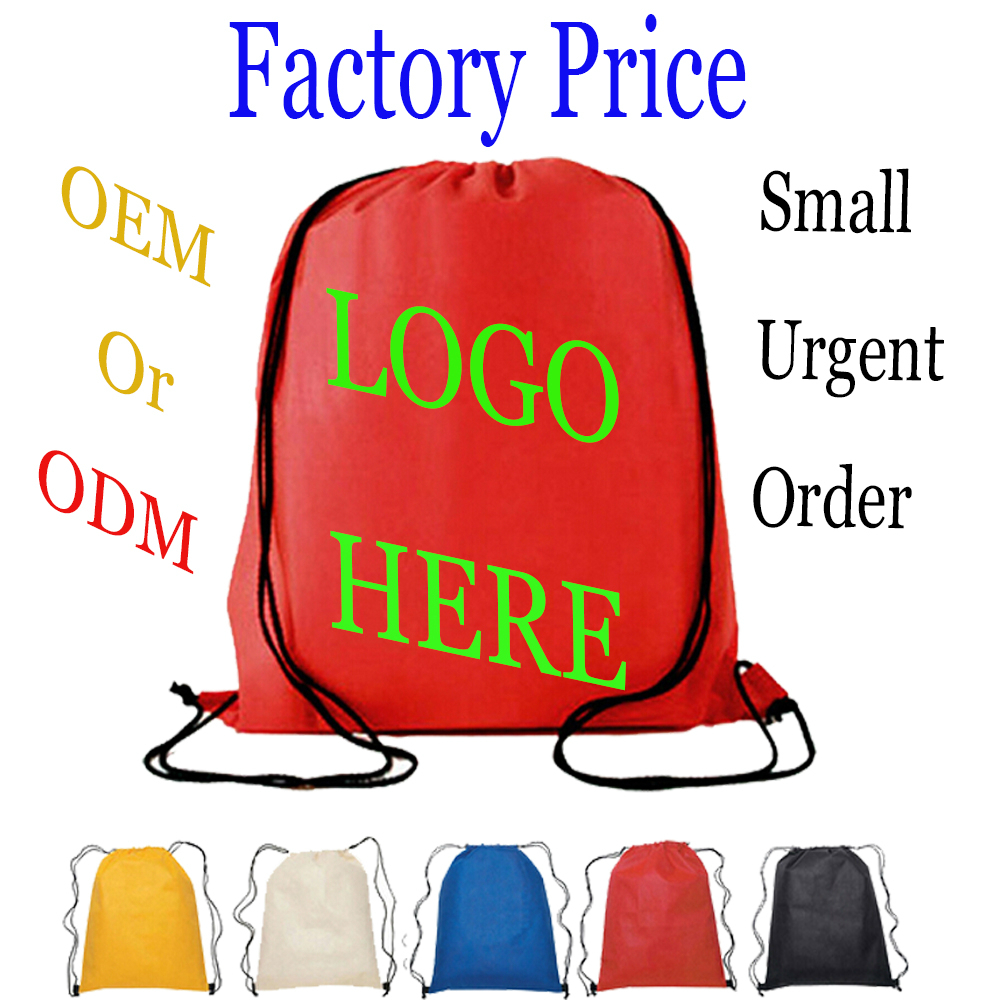 Personalized Different Material Plain Drawstring School Bags