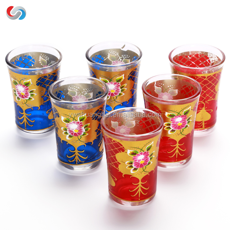 Wholesale Arabic Tea Cup Set Of 6 Customized Printing Glass Cup