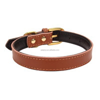 Basic Classic Padded Genuine Plain Leather Pet Collars for Cats Puppy Small Medium Dogs