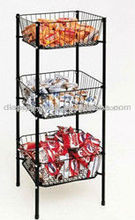 stylish 3 tier 3 baskets candy snack counter display rack HSX-755