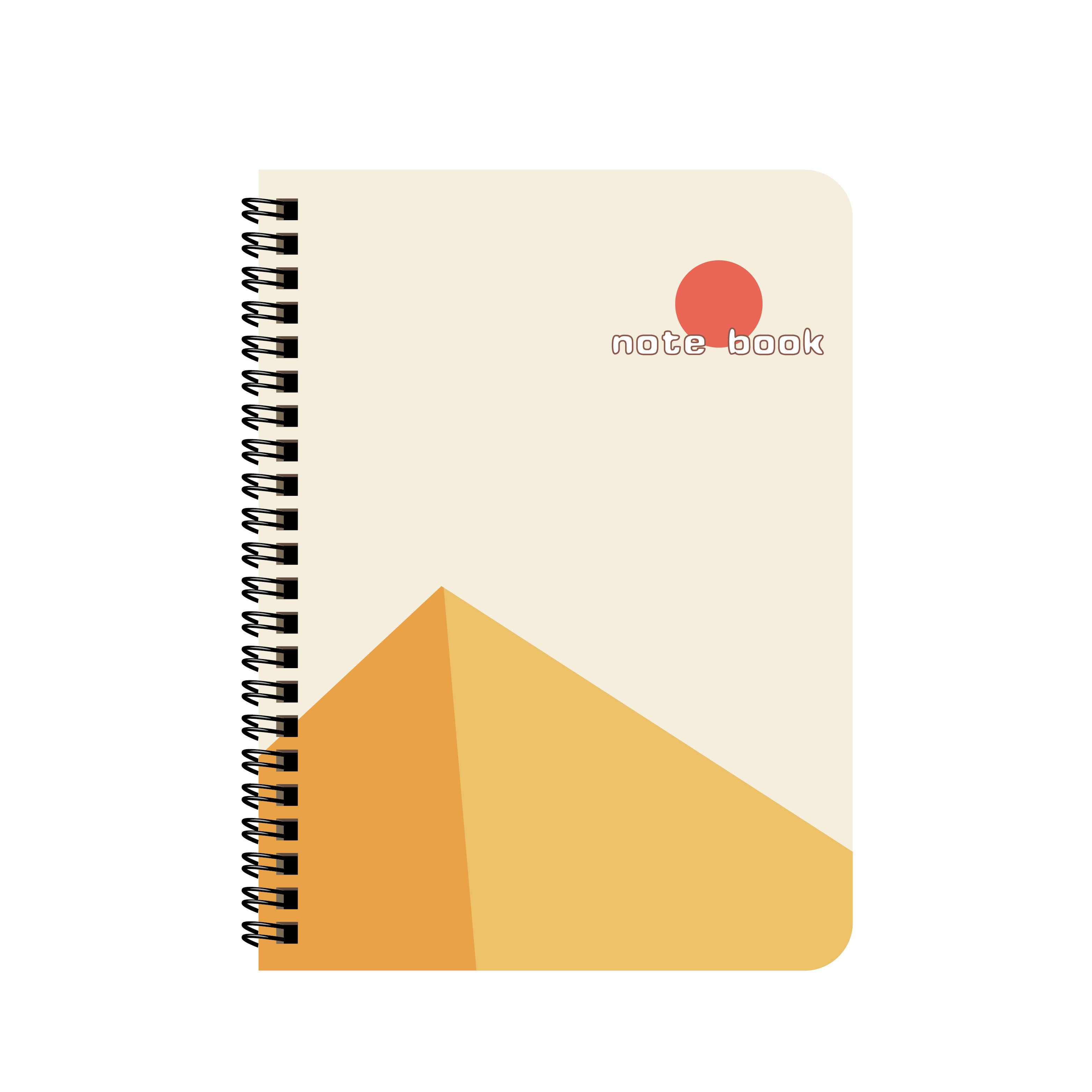 A4 A5 A6 Japanese-Style Minimalism Cover Wide Ruled Notebook With Black Spiral Binding