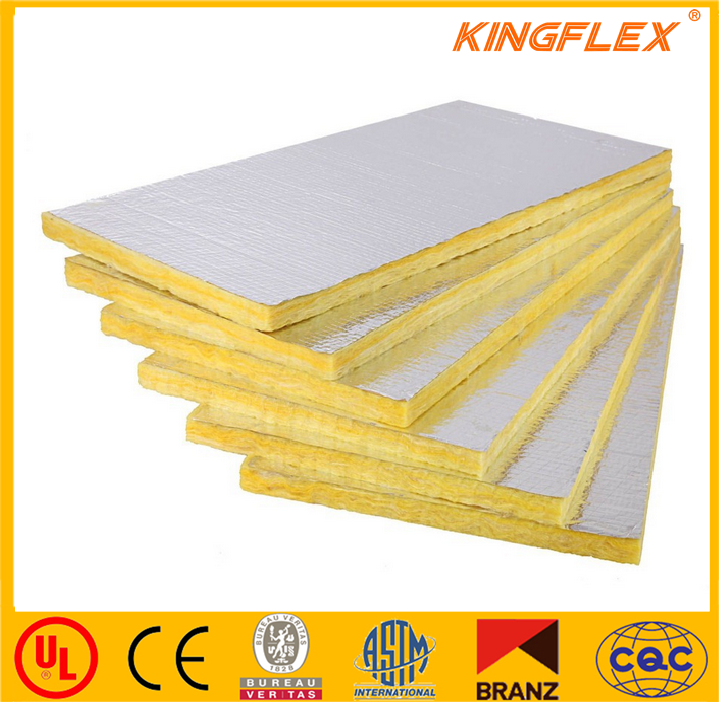 Kingflex top quality cheap price fiber glass wool with aluminum foil faced insulation board