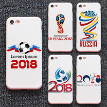 2018 Soft White Silicone Back Cover for iPhone Samsung 6 7 8 X Plus Custom Print Case for World Cup Russian Design
