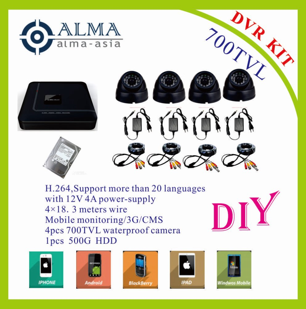 4CH DVR kit with 4pcs 700tvl camera+500G HDD