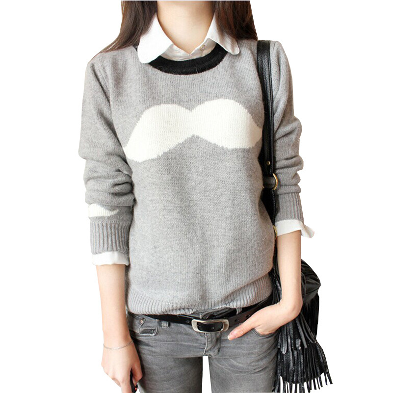 2015 New Mustache Jacquard Women Sweater Fashion O-Neck Sweaters Women Spring & Autumn Casual women Sweaters and Pullovers