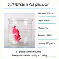 plastic cans with metal lid/tin box with PET body/round plastic can