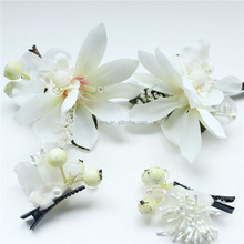 white bridal flower hair clip fashion hair accessories series for wedding