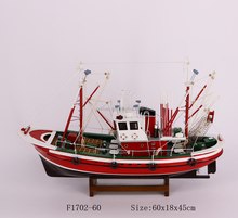 Fishing boat model, 60X18X45cm, RED and brown color, full details ship model