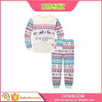 Latest Design Printed Pattern Small-Fry Nighty 100%cotton Christmas Baby Sleep Suit Cute Long Sleeves Girl Sleepwear