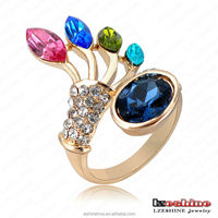 LZESHINE 18K Gold plated Austrian Crystal Peacock Women Rings Design Animal Fashion Jewelry Ri-HQ0340