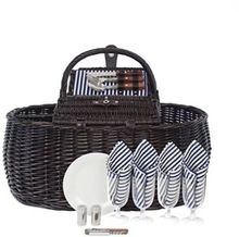Picnic Hamper Natural Bamboo Woven Dark Brown Wicker Basket
