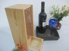 Recycled single bottle wooden wine box with sliding