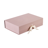 China Products Logo Customised Quality Printing Color Luxury Cardboard Flip Top Ribbon Closure Bridesmaid Gift Box Foldable