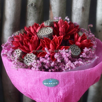 dry lotus flower bouquet hand-hold for wedding bride lover gift