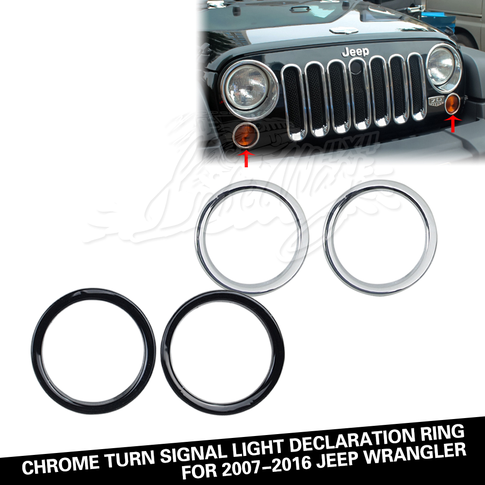 Turn Signal Light Decoration Ring for 07-16 Jeep Wrangler