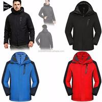 2017 Waterproof 3 in 1 Woodland Winter Men Jacket with fleece jacket inside