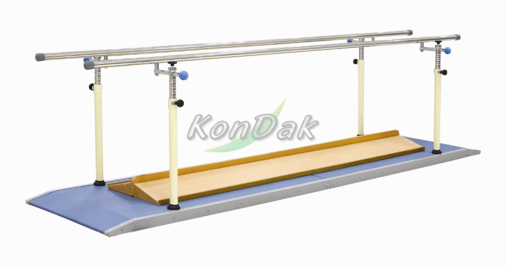 Used wooden parallel bars for walking rehabilitation