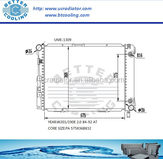 Auto Radiator For MERCEDES-BENZ W201/190E/190W 20I 2.0 84-92 AT OEM:2015004203