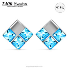 T400 new design jewelry 925 sterling sliver stud earrings swarovski crystals wholesale