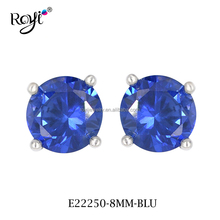 Fashion Indian Jewelry 925 Sterling Silver Sapphire Blue Stud Earring With Round Shaped