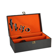 High Quality Customized Luxury PU Leather Wine Carry Gift Box For Two Bottles Wine Tool Set