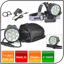 3 Mode Mountain Bicycle Light 9000 Lumen Rechargeable Front Head Lights 7 CREE XML T6 LED Headlamp