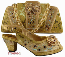 mid heel shoes and bag set SY60206-2 shoulder bag and mid heel shoes matching italian style gold color shoes women handbag 001