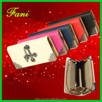 Fashion PU leather clutch zipper wallet with crux metal design for woman