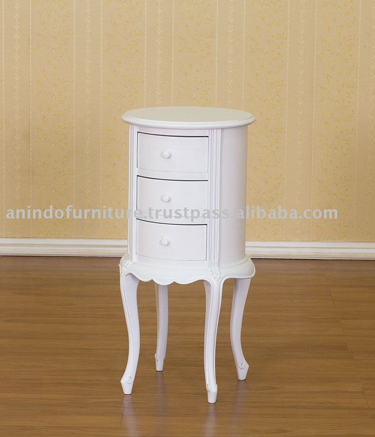 French Style Furniture - 3 Drawers Round Bedside