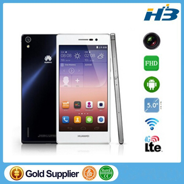 DHL Free shipping Huawei Ascend P7 5.0 inch Android 4.4 LTE Smartphone Kirin 910T Quad Core cell phones 1.8GHz 16GB ROM mobile p