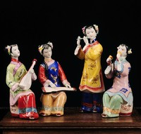 Chinese Hand Maded Ceramic Antique Colorful Porcelain Figure Statues