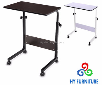 Wooden and metal computer desk stand home office rolling study table