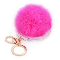 Portable folding pompon compact cosmetics mirror key chain ring,lady plush compact pocket makeup mirror keychain keyring holder
