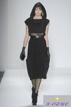 lace design at waist black dress with cap in 2012