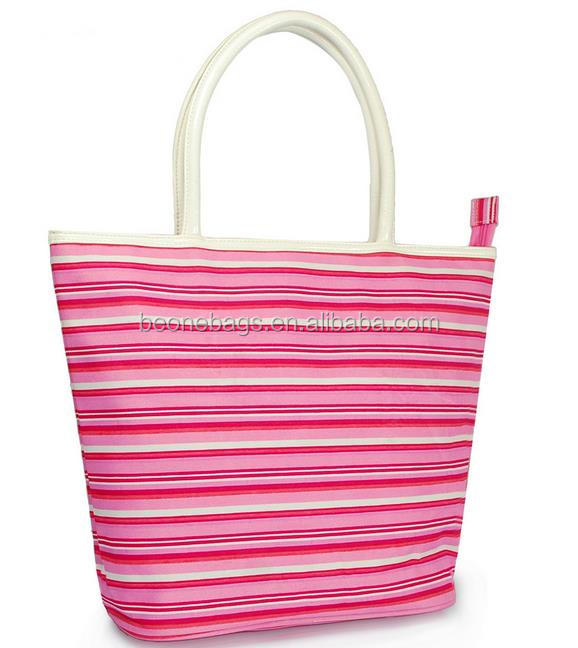 Custom made luxury pink striped printed shopping bags with pu handle