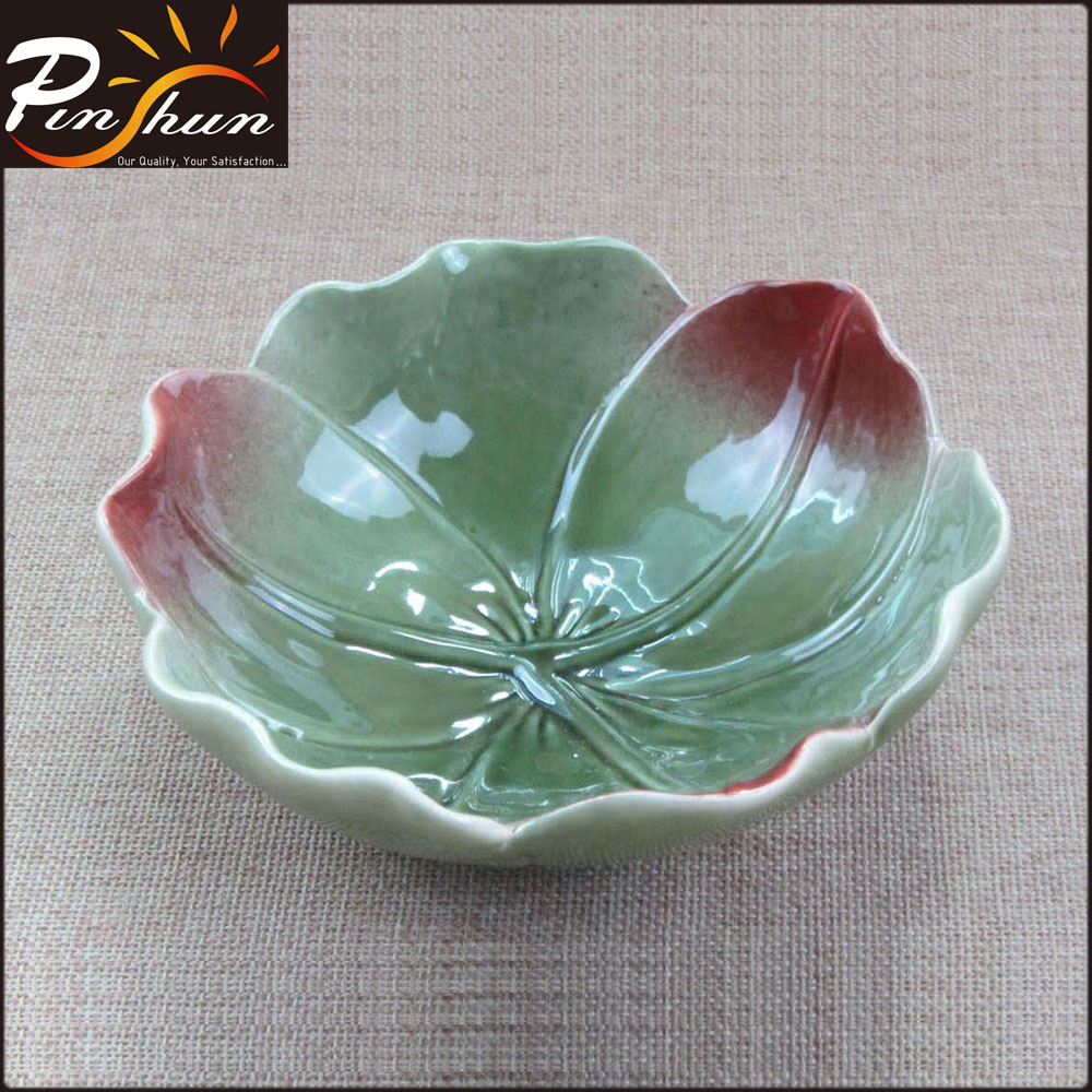 Wholesale flower shaped ceramic fruit salad bowl