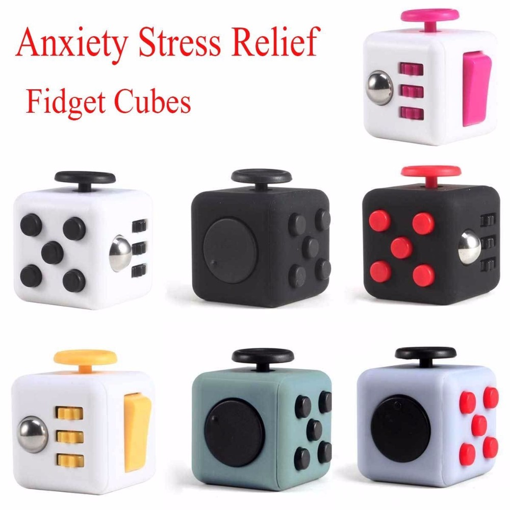 3x3 6 sides Amazing Magic Fidget Cube and hand tri-spinner Anxiety Stres ADD & ADHD
