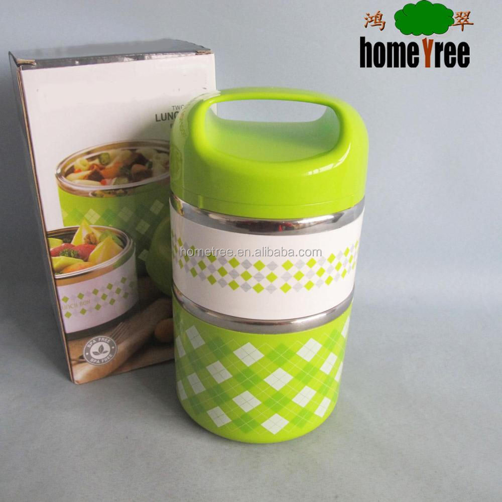 304 waterproof 2 layer vacuum tiffin bento round stainless steel Lunch box