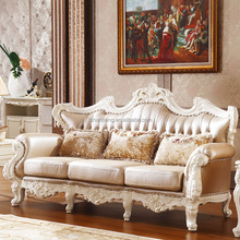 Luxury Classical French Italian European Antique Style Carved Rubber Solid Wood Frame Artistic Red Brown Leather Sofa Set