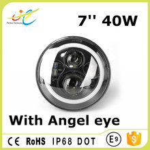 Hottest angel eyes 7inch 40W high low beam led driving headlamp for wrangler
