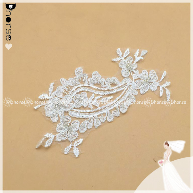 New style sequence beads bridal laces applique for wedding dress