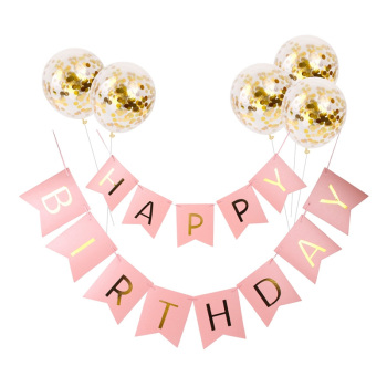 "12 Inch Gold Confetti Latex Balloons Inflatable Birthday Balloon With ""Happy Birthday"" Banner Decoration"